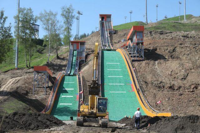 Строительство трамплинов на «Сопке». Красноярск. 22 мая 2020 года