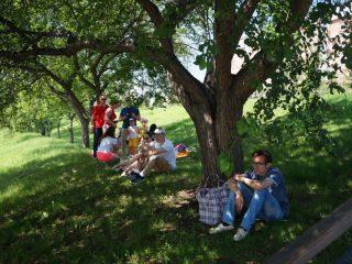 Здесь зрители располагались вольготнее, заняв не только скамейки, но и газоны