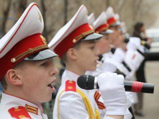 Вокальный ансамбль «Кадет» исполнил для победителей песню, специально подготовленную ко Дню Победы