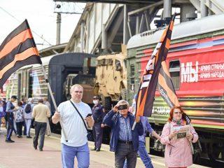 Акция стартовала 25 апреля в Москве. Железнодорожный состав проследует почти через всю страну – от Москвы до Владивостока, сделает остановки в 51 городе, в том числе в Мурманске и Севастополе