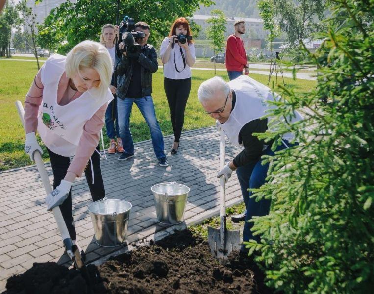 Сибирские ели высадила Виктория Абрамченко в память о воинах Великой Отечественной войны