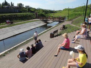 Амфитеатр сидений для зрителей удачно вписали в рельеф. Он расположился на берегу Парнушки напротив сцены для проведения концертов и фестивалей, которая находится на другом берегу речки
