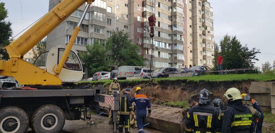 >В Красноярске обрушилось 80 квадратных метров подпорной стены после дождя