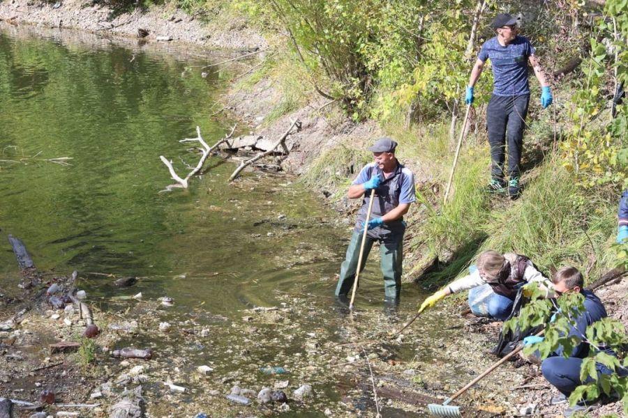 Тщательно очистили и берега пруда